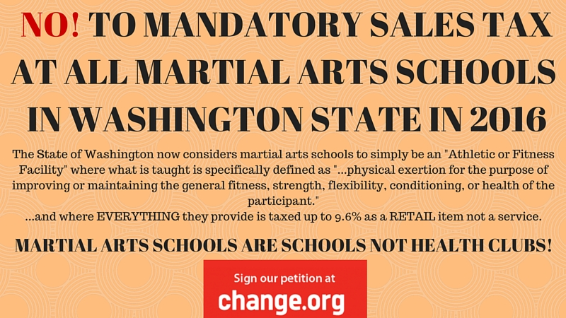 'NO!' TO SALES TAX ON MARTIAL ARTS INSTRUCTION